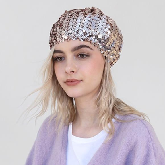 9e2e3d59e7888 Accessories - Rose Gold Sequin Beret Hat